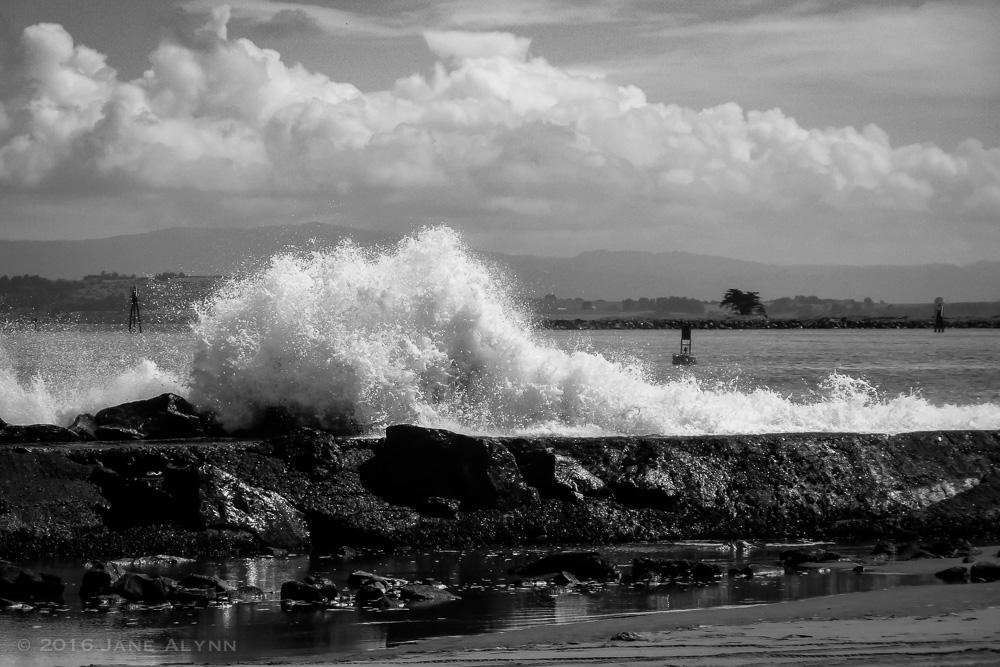 Wave crashing at Somoa Dunes, Arcata, California